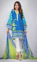 100% Ready To Wear Digital printed cambric shirt with V neckline with lace on one side and lace on daman. Flare sleaves with slit and tassle. Digital printed chiffon dupatta.