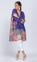 100% Cambric Ready To Wear Digital Printed Shirt.V neckline with scallops. Loose fit shirt with straight full sleeves with slit.