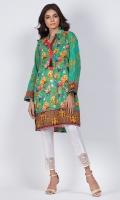 - Digital printed kurti  - Straight cut kurta  -High collar V neckline with tassle  - Full straight sleeves