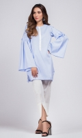 100% cotton kurta with white accent on the neckline and peplum sleeves.