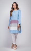 100% cotton kurta with colour block detailing and round neckline with accent stitch.
