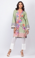 - Digital printed kurti  - Straight cut kurta  -V neckline with pleats and pearls  - Full bell sleeves with lace trimmings