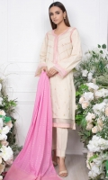 - Lawn Shirt (Front) (Wider Width)  - 1.25mtr Lawn Shirt (Back and Sleeves)  - 2.5mtr Jacquard Dupatta  - 1.5mtr Cambric Pants (Wider Width)  - Embroidered Shirt Front