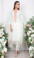 - 2.5mtr Lawn Pearl Printed Shirt (Wider Width)  - 2.5mtr Lawn Pearl Printed Dupatta  - 1.5mtr Cambric Pants (Wider Width)  - Embroidered Neckline on Shirt