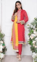- 1.25mtr Lawn Shirt (Wider Width)  - Extra lawn Sleeves (Wider width)  - 2.5mtr Lawn Dupatta  - 2mtr Textured pants (Wider width)  - Embroidered Neckline on Shirt