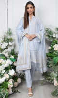 - Lawn Shirt Front (Wider Width)  - 1.25mtr Lawn Pearl Printed Shirt Back and Sleeves (Wider Width)  - 2.5mtr Lawn Pearl Printed Dupatta  - 1.5mtr Cambric Pants (Wider Width)  - Embroidered Shirt