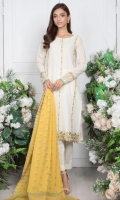 - Lawn Shirt (Wider Width)  - 1.25mtr Lawn Pearl Printed Shirt Back and Sleeves (Wider Width)  - 2.5mtr Jacquard Dupatta  - 2mtr Textured Pants (Wider Width)  - Embroidered Shirt