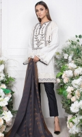 - 2.5mtr Lawn Pearl Printed Shirt (Wider Width)  - 2.5mtr Jacquard Dupatta  - 1.5mtr Cambric Pants (Wider Width)  - Embroidered Neckline on Shirt