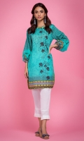 100% Lawn ready to wear digital printed shirt. Boat neck with pipine. Straight shirt with balloon sleeves.