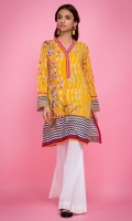 100% Lawn ready to wear digital printed shirt. V-neckline with band. Straight shirt and straight full sleeves.