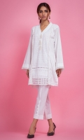 Chiffly kurta. V-neck with three dangling pearl tassels. Straight shirt and straight full sleeves with pearl lace.