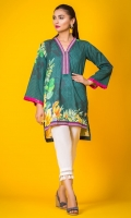 100% Lawn ready to wear digital printed shirt V-neckline with band, highlow shirt with full sleeves