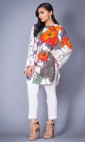 100% Cotton satin ready to wear digital printed shirt Boat neckline, straight shirt with full bell sleeves