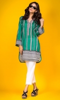 100% Lawn ready to wear digital shirt Overlapped band neckline Straight shirt with straight sleeves with lace accents