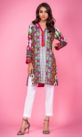 100% Lawn ready to wear shirt V-neckline with band and tassels Straight shirt and straight sleeves