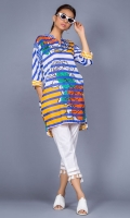 100% Cotton satin ready to wear digital shirt High v-neckline  High low boxy shirt with pockets and sleeves with band