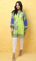 100% Lawn ready to wear digital shirt Overlapped V-neckline band  Straight shirt with balloon sleeves