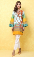 100% Lawn ready to wear digital shirt Round V-neckline with pipine  Boxy shirt with flared sleeves