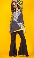 100% Cotton satin ready to wear digital shirt High v-neckline Boxy cut High low shirt and peplum sleeves