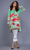 100% Cotton satin ready to wear digital printed shirt. V-neckline with band. High low shirt and straight full sleeves.