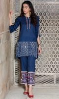 2 Pc Stitched Cambric Dress Embroidered Neck Line And Daman Foldabale Sleeves With Embroidery Patti Work Embroidered Trouser With Slit