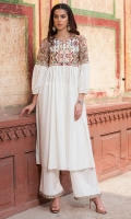2 Pc Stitched Cambric Dress Boat Neck With Slit Embroidered Front With Pleats ,Embroidered Sleeves Plazo Trouser With Embroidered Borders