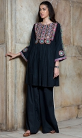2 Pc Stitched Cambric Dress Round Neck Embroidered Front Embroidered Sleeves Plazo Trouser With Croatia Lace