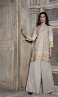 2 Pc Stitched Cambric Dress Boat Neck  Gold Printed Front With Embroidered Daaman Along With Gota Lace And Kiran Lace Work Embroidered Sleeves With Gold Printed Borders Gold Printed Back With Embroidery And Lace Work Plain Cambric Plazo Trouser