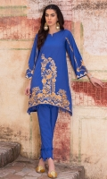 2 Pc Stitched Cambric Dress Boat Neck Embroidered Ront With Border Frills Embroidered Sleeves Straight Trouser With Frills