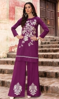 2 Pc Stitched Cambric Dress Boat Neck Fully Embroidered Front With Croatia Lace At Daaman Embroidered Plazo Trouser