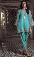 3 Pc Stitched Dress.Oganza Shirt With Tilla Embroidered Front.Tilla Embroidered Sleeves.Inner Also Attached.Cambric Trouser
