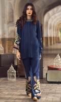 2 Pc Stitched Dress. Front With Pleats & Stitchng Art.Embroidered Bell Shaped Sleeves.Embroidered Bell Shaped Trouser