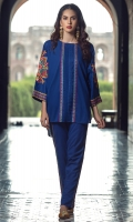 2 PC STITCHED DRESS ROUND NECK EMBROIDERED FRONT WITH CENTRAL PLEATS WORK, EMBROIDERED SLEEVES. LONG BACK.EMBROIDERED TROUSER WITH NAVY PURPLE SHADE