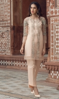 2 Pc Stitched Dress. Poly Net Shirt.Embroidered Front. Embroidered Sleeves. Inner Also Attached .Cambric Trouser