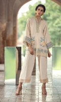 2Pc Stitched Dress. Jacquard Shirt With V Neck.Embroidered Front With Organza Border. Cambric Trouser With Organza Border