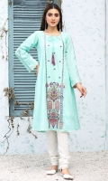 Stitched Lawn Frock Bot Neck With Fabric Dori Embroidered Front With Croatia Lace Embroidered Sleeves Plain Back