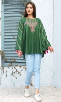 Stitched Lawn Top Boat Neck With Slit Embroidered Front With Gathers Embroidered Sleeves With Tassels Plain Back