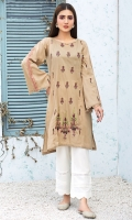 Stitched Lawn Shirt Boat Neck Embroidered Front Bell Shape Embroidered Sleeves With Frills Plain Back