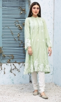 Stitched Lawn Frock Ban Collar Embroidered Front Beautified With Seerhi Lace Two shaded Embroidered Sleeves With Frills Plain Back