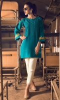 Boat Neck Khaddar Kurta Front With Anchor Work & Pleats Along With Pearl Details,Embroidered Sleeves With Pleats
