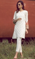 2 Pc Stitched Dress Fully Embroidered Front Embroidered Sleeves.Linen Trouser With Frills