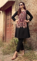 2 Pc Stitched Dress, Fully Embroidered Front With Flared Daaman.Black Linen Trouser With Pleats & Anchor Details