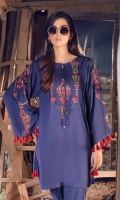 2 Pc Stitched Dress, Embroidered Front With Resham Neck Dori Embroidered Sleeves With Tassels.Embroidered Trouser
