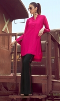 2 Pc Stitched Dress .Linen Shirt With Pleats Work & Anchor Details At Front & Sleeves,Black Linen Trouser With Pink Lining