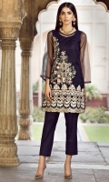 2PC STITCHED DRESS  POLY NET SHIRT  TILLA AND THREAD EMBROIDERED FRONT  STITCHED INNER.NET SLEEVES  PLAIN BACK  CAMBRIC TROUSER