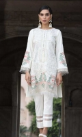 2 PC STITCHED DRESS.  TILLA & THREAD EMBROIDERED LAWN SHIRT WITH EMBROIDERED ORGANZA BORDER and PEARLS DETAILS.  EMBROIDERED SLEEVES.  PLAIN BACK.CAMBRIC LAWN TROUSER