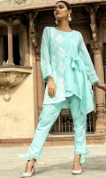 3 PC STITCHED DRESS COTTON NET SHIRT WITH EMBROIDERED FRONT SLEEVES WITH FRILLS .UNDER SHIRT PLAIN TROUSER WITH ORGANZA BORDERS AND KNOT