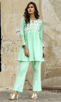 2 PC STITCHED DRESS EMBROIDERED FRONT WITH PEARLS DETAILS AT NECK LINE EMBROIDERED SLEEVES PLAIN CAMBRIC TROUSER