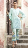 2 PC STITCHED DRESS EMBROIDERED FRONT WITH NECK LINE FANCY BUTTONS BEAUTIFULLY EMBROIDERED TROUSER
