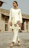 3 PC STITCHED DRESS TILLA EMBROIDERED FRONT EMBROIDERED SLEEVES,RESHAM COTTON SLIP  PLAIN TROUSER